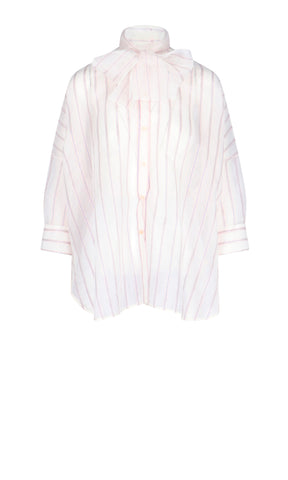 Red Valentino Striped Pussy Bow Shirt