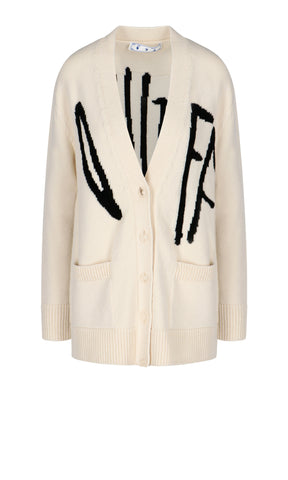 Off-White Logo Graffiti V-Neck Cardigan