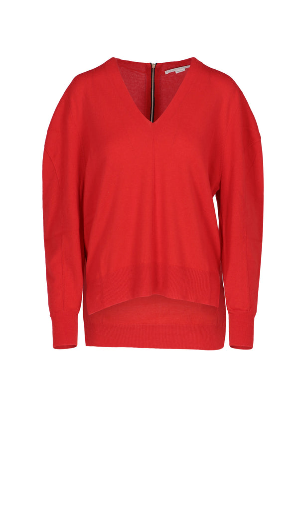 Stella Mccartney Puffy Sleeves Knit Jumper In Red