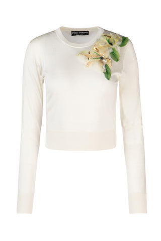 Dolce & Gabbana Floral Applique Sweater