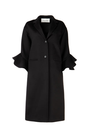 Valentino Ruffle Trim Straight Coat