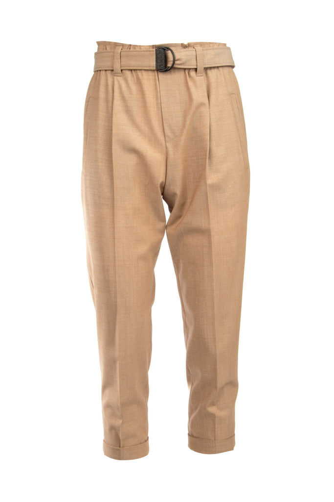 Brunello Cucinelli Belted Cropped Trousers In Brown
