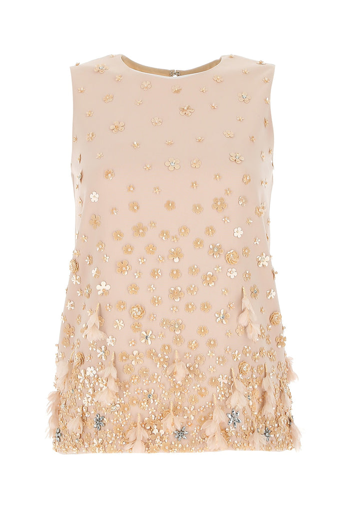 Max Mara Embellished Cady Top In Multi