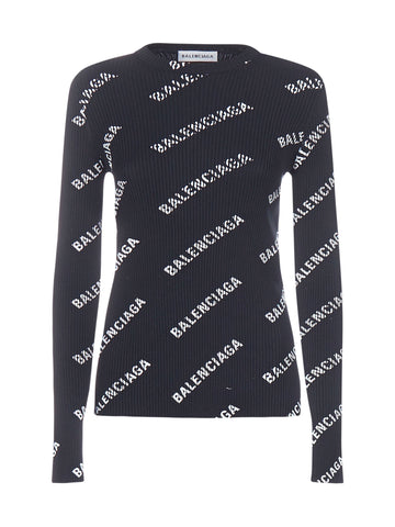 Balenciaga All Over Logo Ribbed Top