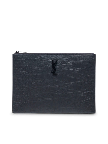 Saint Laurent Textured Embossed Logo Clutch Bag