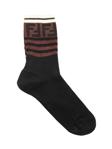 Fendi FF Motif Striped Socks