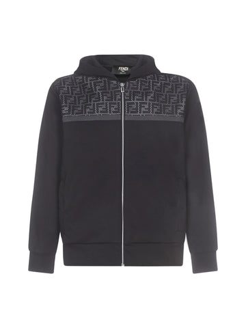 Fendi FF Mesh Panelled Hooded Jacket