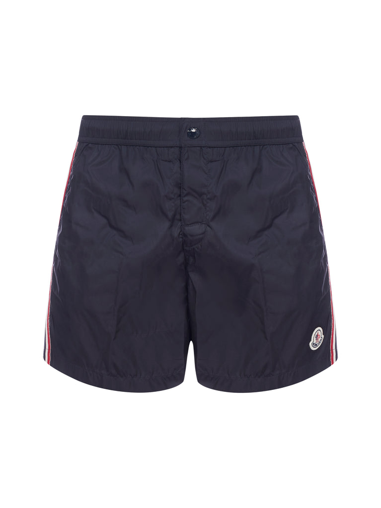 Moncler Striped Logo Swim Shorts
