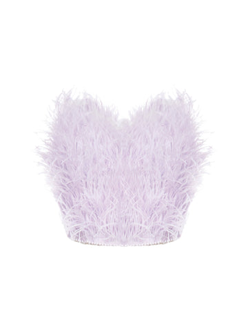The Attico Feathered Bandeau Crop Top