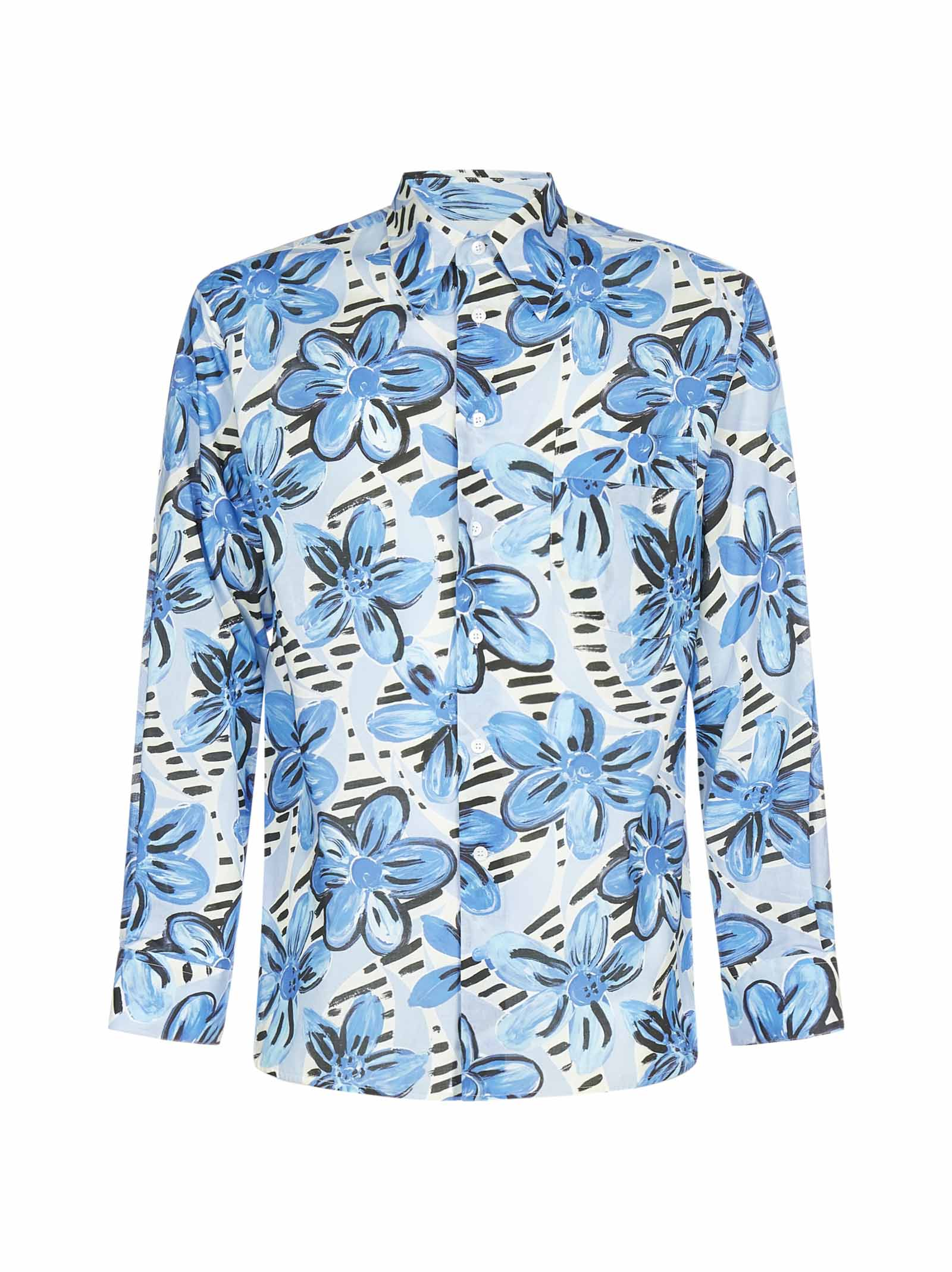 Marni Painted Flowers Print Shirt In Blue