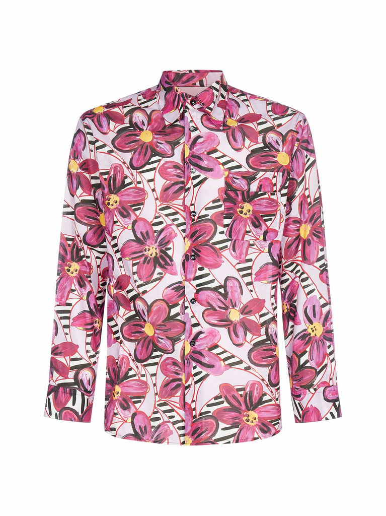 Marni Painted Flowers Print Shirt In Pink