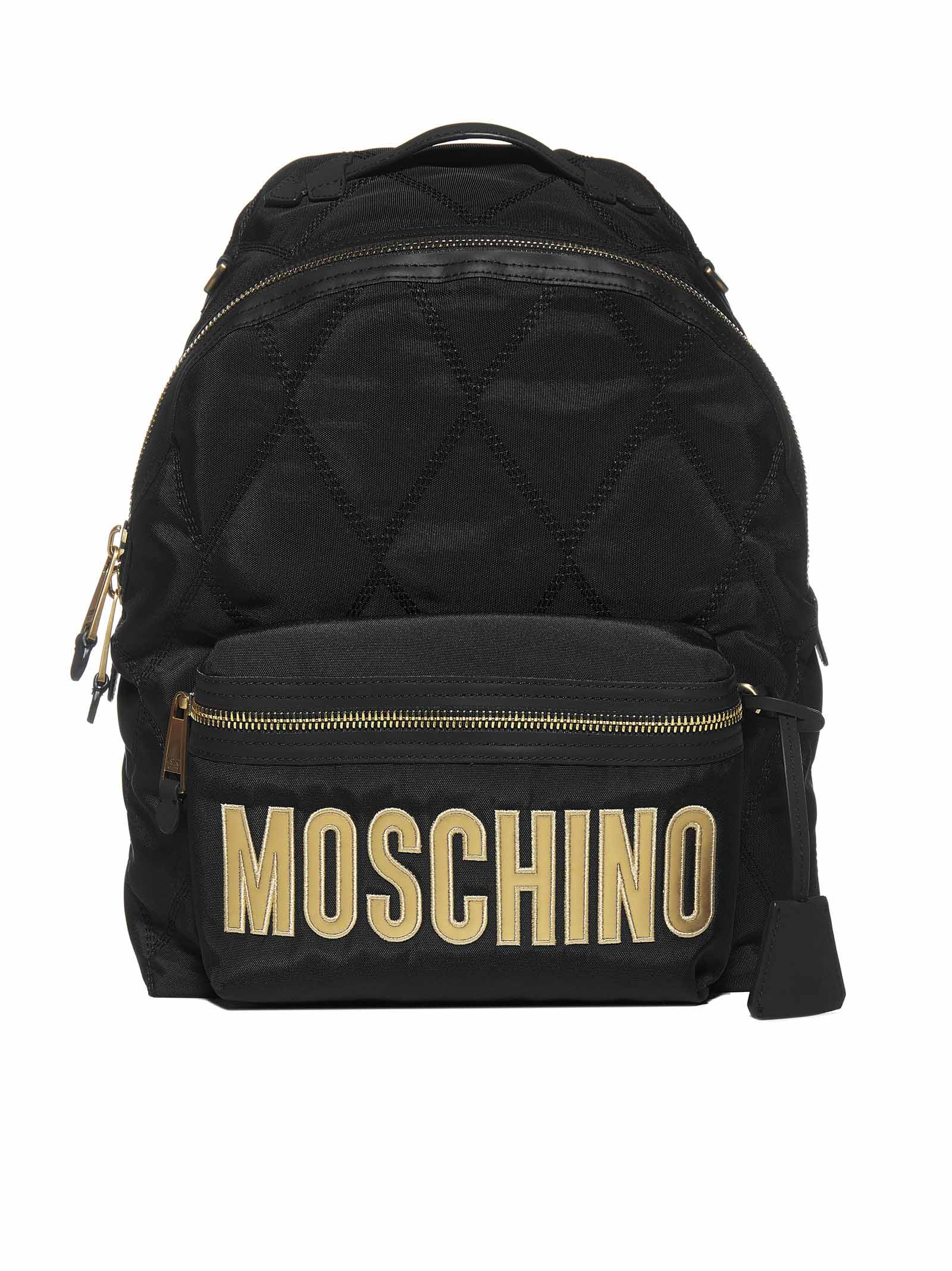 Moschino Backpacks MOSCHINO LOGO QUILTED BACKPACK