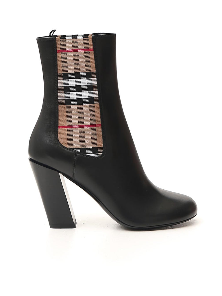 Burberry BURBERRY VINTAGE CHECK DETAIL ANKLE BOOTS