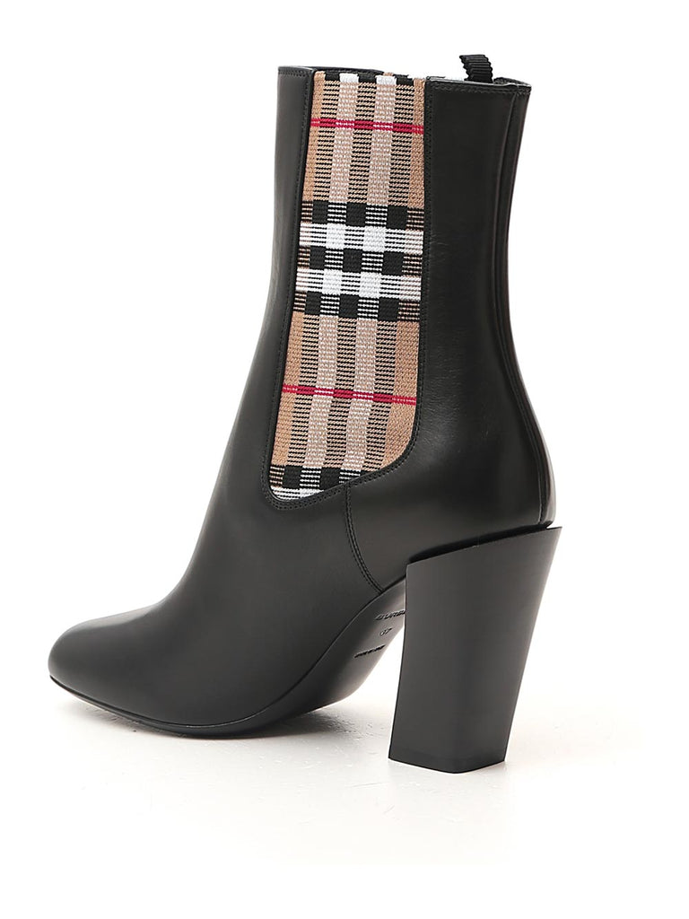 BURBERRY Leathers BURBERRY VINTAGE CHECK DETAIL ANKLE BOOTS