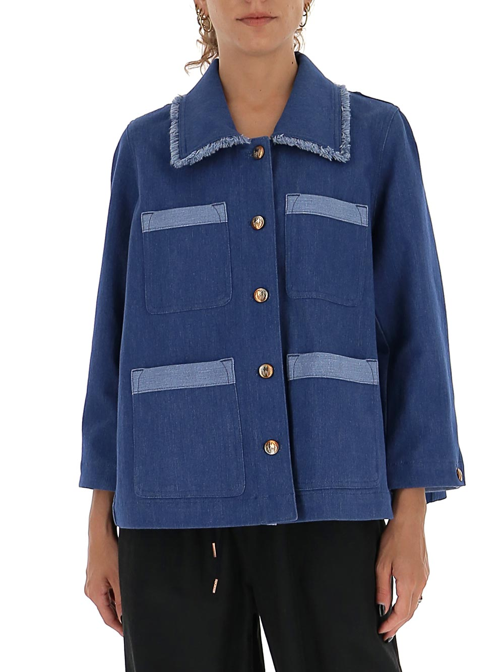 Chloé CHLOÉ CONTRAST DETAILED DENIM JACKET