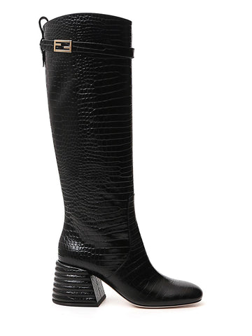 Fendi Embossed Block Heel Boots