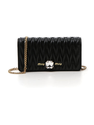 Miu Miu Embellished Matelassé Chain Clutch Bag