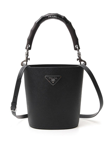 Prada Logo Plaque Bucket Bag