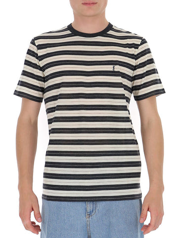 Saint Laurent Striped Monogram T-Shirt