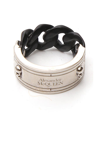 Alexander McQueen Logo Engraved Chain Ring