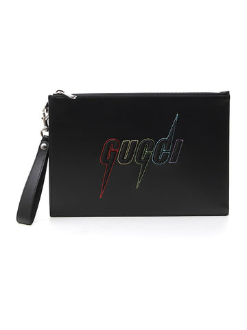 Gucci Blade Logo Embroidered Pouch