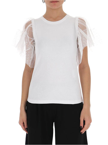 Red Valentino Ribbed Tulle Sleeve Top