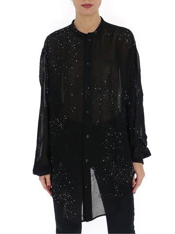 Saint Laurent Embellished Sheer Blouse
