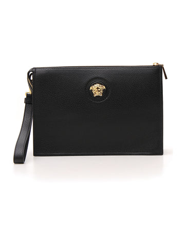 Versace Medusa Logo Embellished Clutch Bag