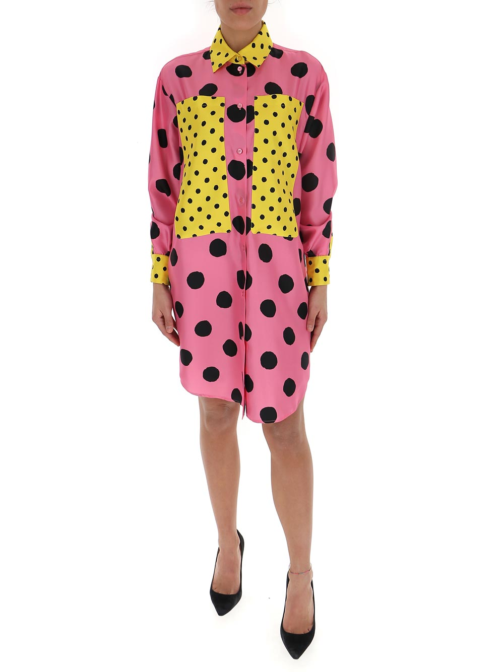 Moschino MOSCHINO POLKA DOTS PATCHWORK SHIRT DRESS