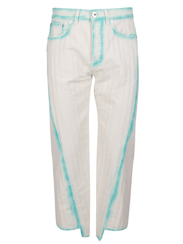 Lanvin Bleached Panelled Cropped Jeans