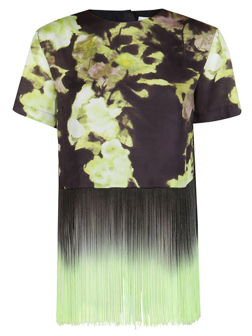 MSGM Floral Fringed T-Shirt