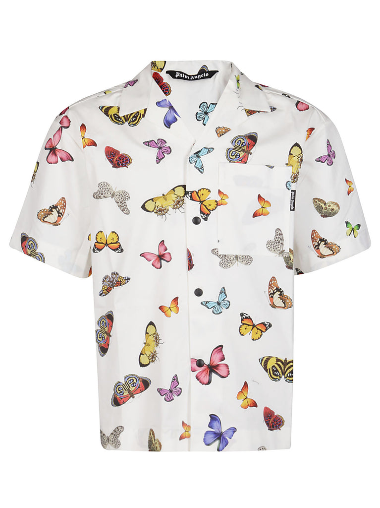 Palm Angels Shorts PALM ANGELS BUTTERFLY PRINTED SHORT SLEEVE SHIRT