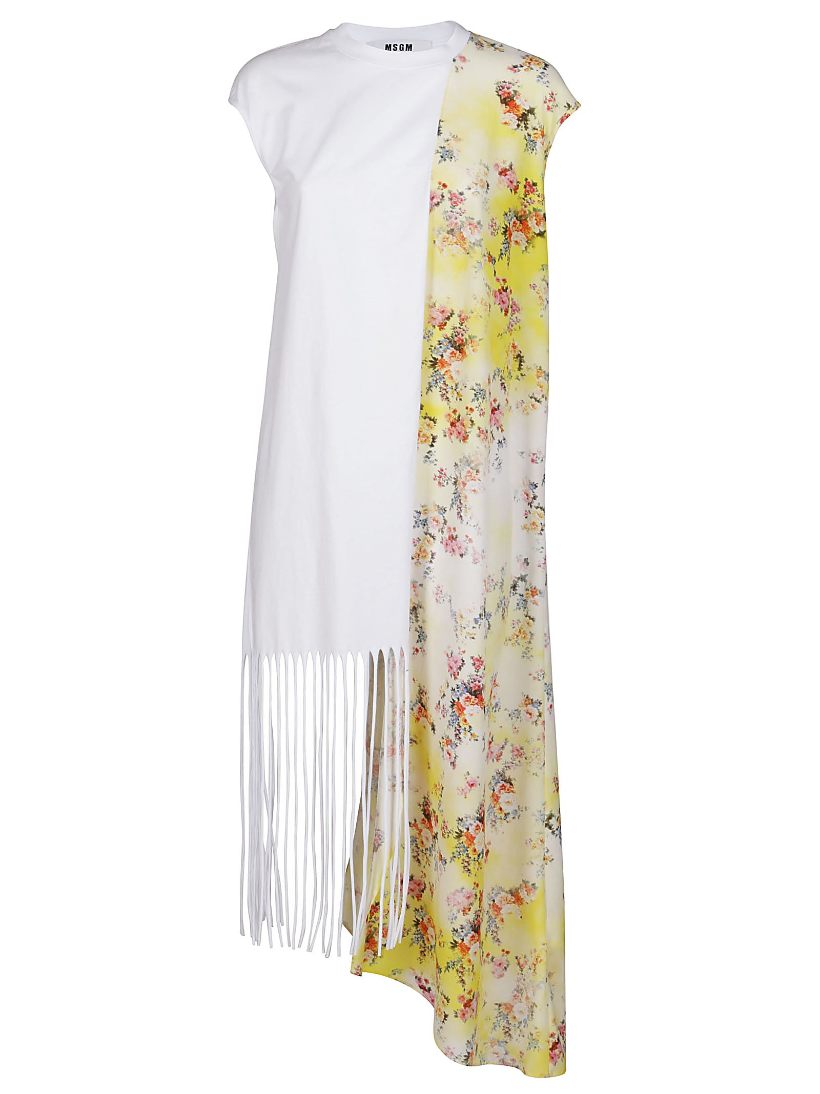 Msgm Cottons MSGM CONTRAST FLORAL PRINTED PANEL DRESS