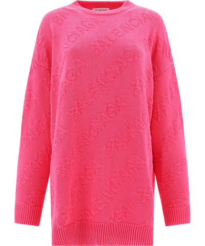 Balenciaga Oversized Logo Patterned Jumper
