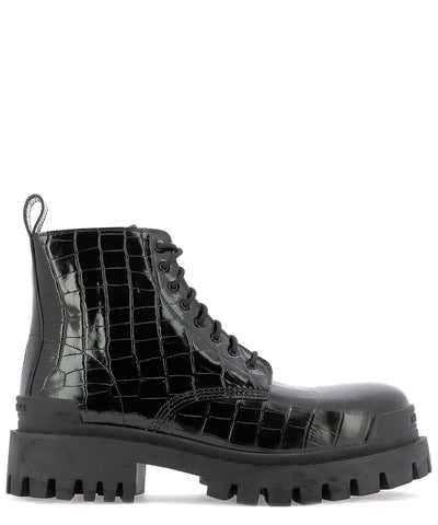 Balenciaga Embossed Lace-Up Ankle Boots
