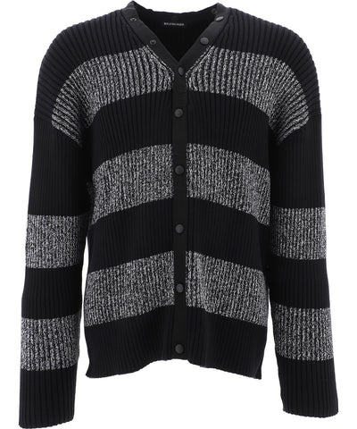 Balenciaga Striped Logo Cardigan