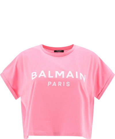 Balmain Logo Cropped Top