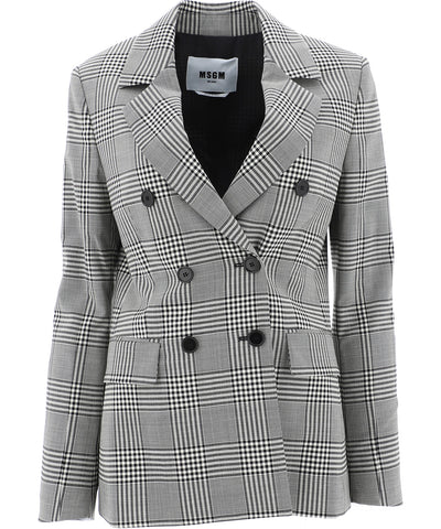 MSGM Double-Breasted Checked Blazer