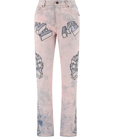 Off-White Embroidered Motif Jeans