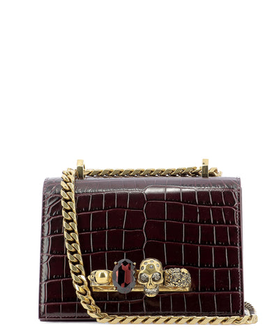 Alexander McQueen Skull Embellished Croc Effect Crossbody Bag