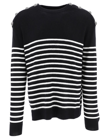 Balmain Striped Button Detail Sweater