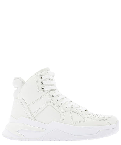 Balmain B Ball Logo Embossed High Top Sneakers