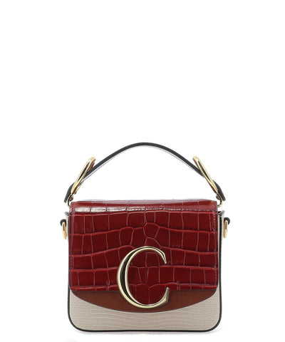 Chloé C Croc Effect Crossbody Bag