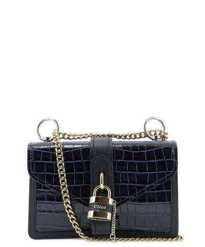Chloé Padlock Croc Effect Shoulder Bag
