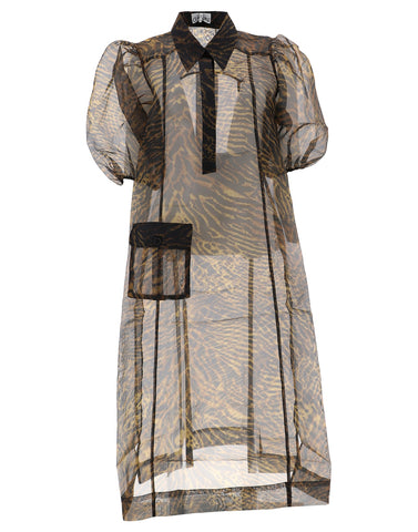 Ganni Sheer Animalier Shirt Dress