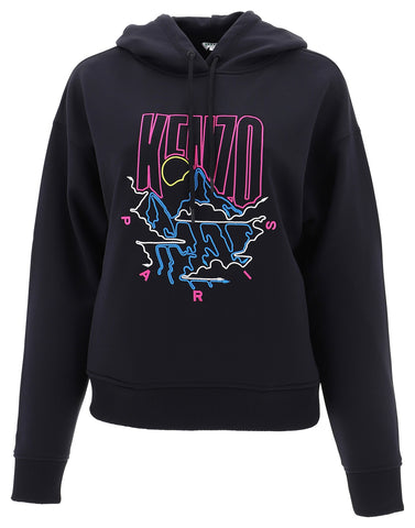 Kenzo Mountain Logo Embroidered Hoodie