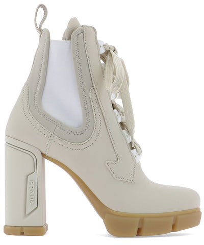 Prada Side Panelled Lace-Up Boots