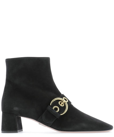 Prada Buckle Detail Pointed Toe Boots