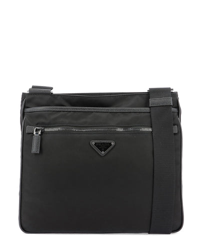 Prada Logo Plaque Zip-Up Messenger Bag