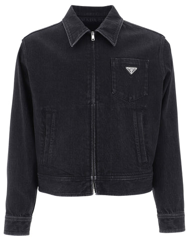 Prada Zipped Logo Plaque Denim Jacket